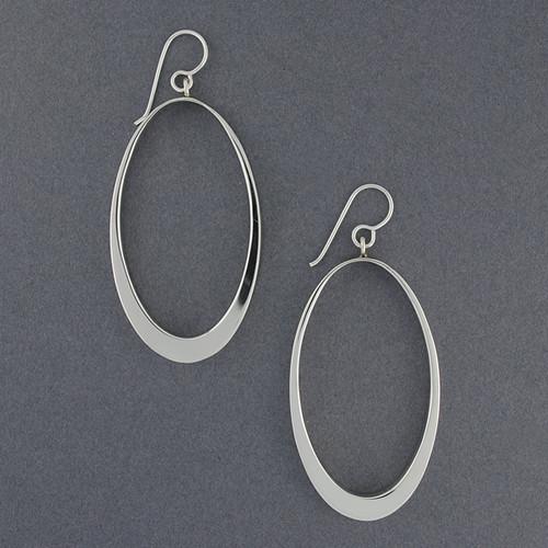 Sterling Silver Large Open Oval Earrings
