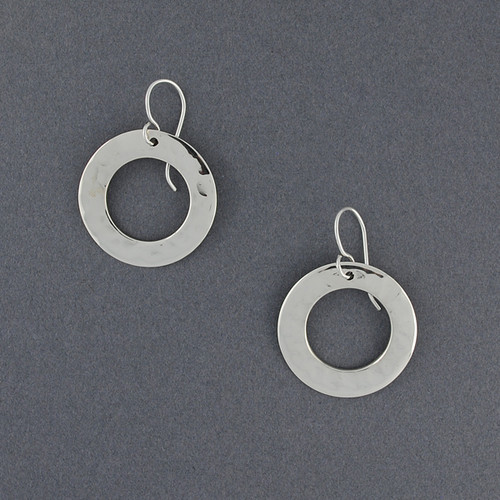 Sterling Silver Hammered Open Circle Earrings
