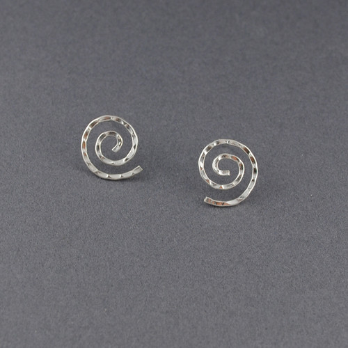 Sterling Silver Hammered Spiral Post Earring
