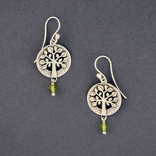 Detailed Tree of Life with Stone Earrings