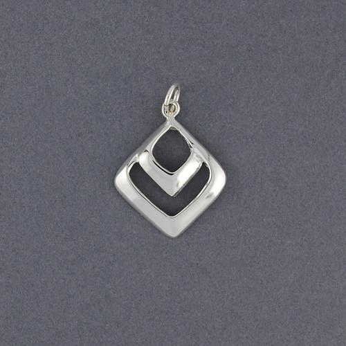 Sterling Silver Small Double Diamond Pendant