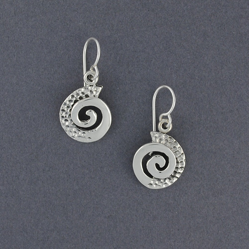 Sterling Silver Textured Spiral Earrings