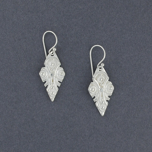 Sterling Silver Ornate Diamond Earrings