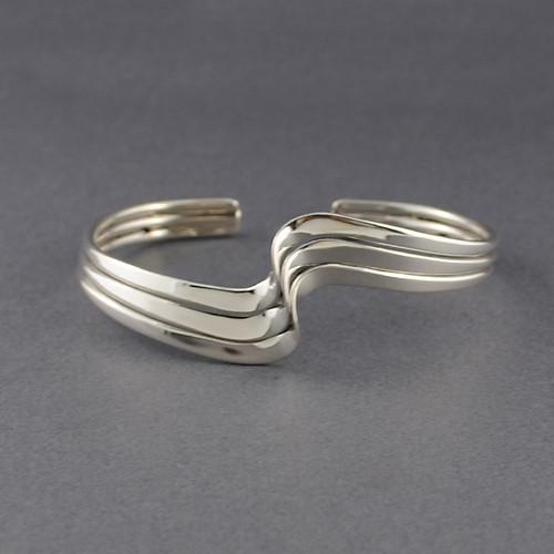 Sterling Silver Three Wave Cuff
