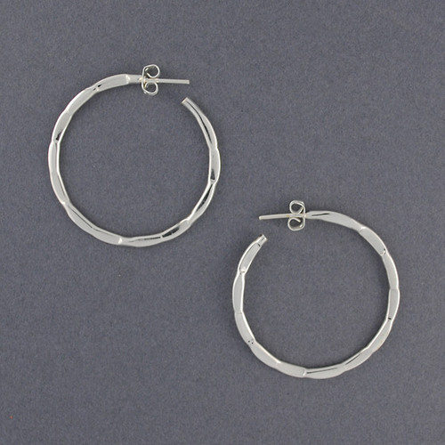 Sterling Silver Knotched Hoop
