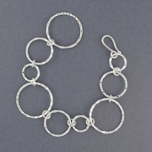 Sterling Silver Mixed Hammered Circles Bracelet