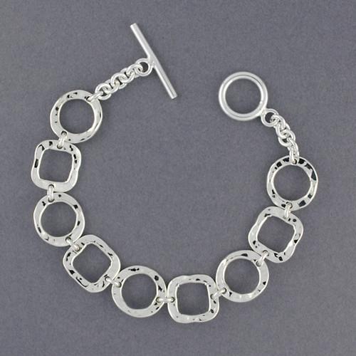 Sterling Silver Hammered Shapes Bracelet