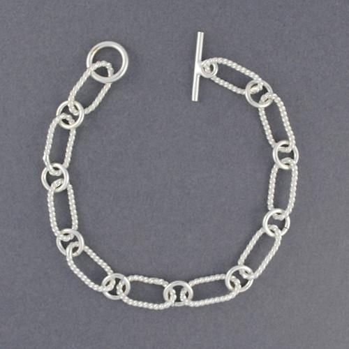 Sterling Silver Large Twisted Oval Link Bracelet