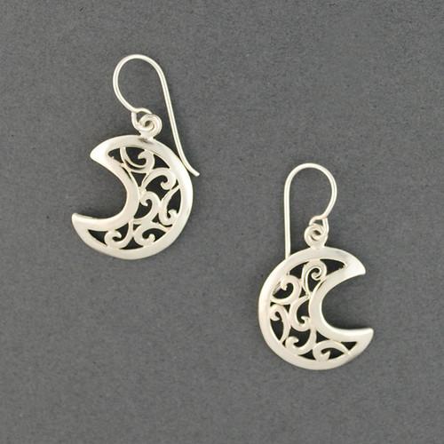 Sterling Silver Swirly Moon Earrings