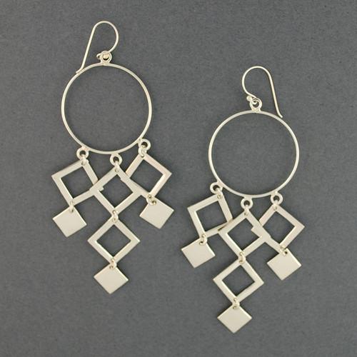 Sterling Silver Geometric Chandelier Earrings