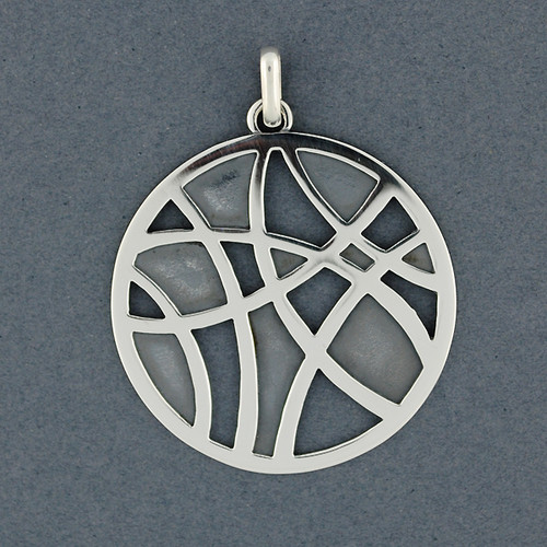 Abstract Lines in Circle Pendant