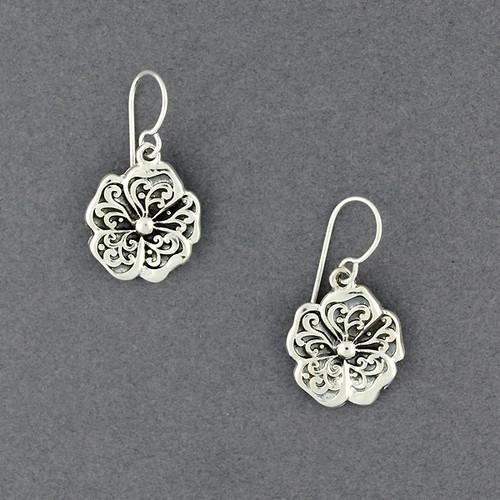 Sterling Silver Antiqued Stylized Flower Earrings