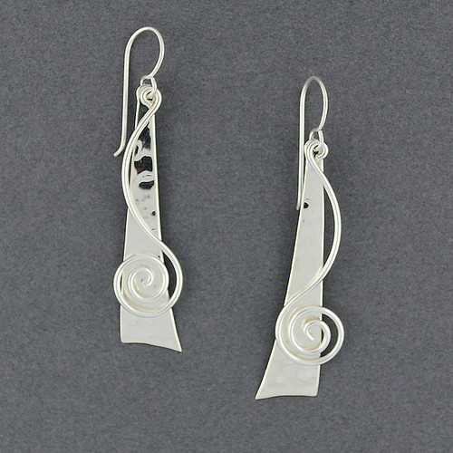 Sterling Silver Triangle and Swirl Earrings