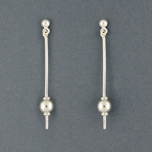 Sterling Silver Long Sphere Earrings