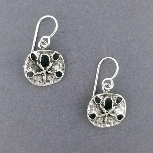Sterling Silver Antiqued Sand Dollar Earrings