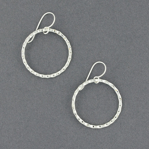 Sterling Silver Thin Hammered Hoop