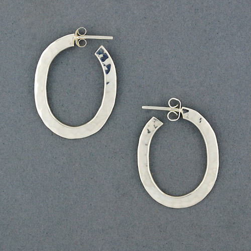 Sterling Silver Hammered Oval Hoop