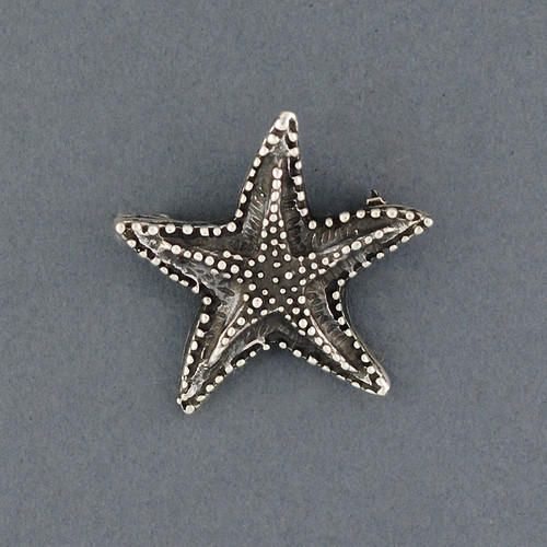 Sterling Silver Small Antiqued Starfish Pin