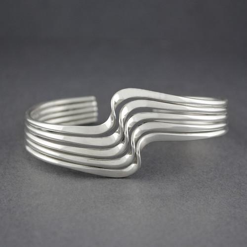 Sterling Silver 5 Strand Wave Cuff