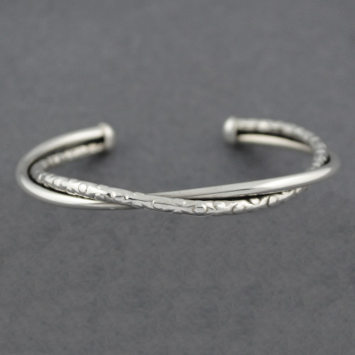 Sterling Silver Textured Twist Cuff