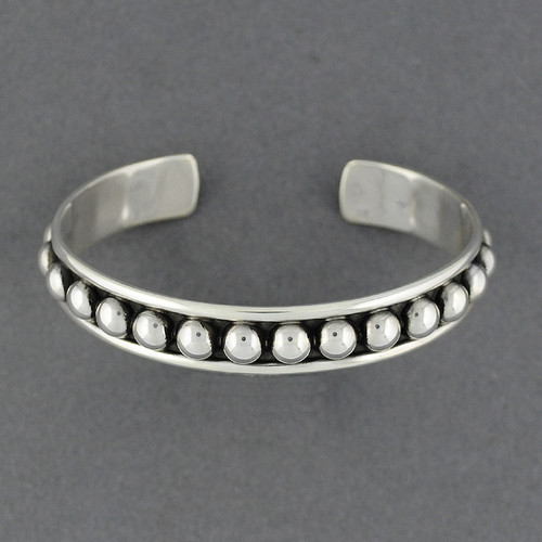 Sterling Silver Antiqued Dots Cuff