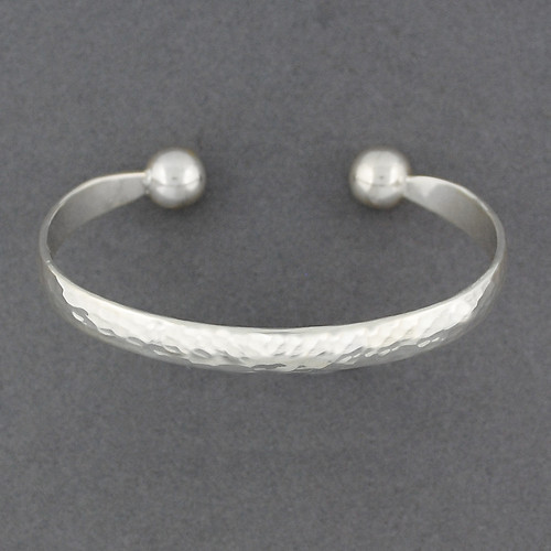 Sterling Silver Hammered Ball Cuff