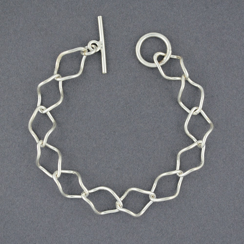 Sterling Silver Twisted Diamond Link