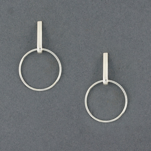Sterling Silver Circle On Long Post Earring