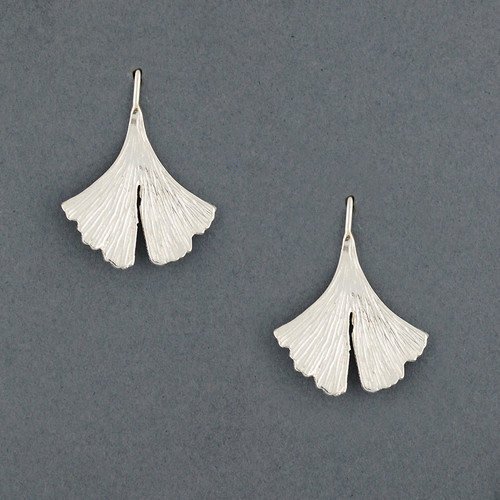 Sterling Silver Textured Ginkgo Leaf Earring