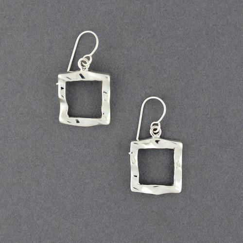 Sterling Silver Wavy Open Square Earrings