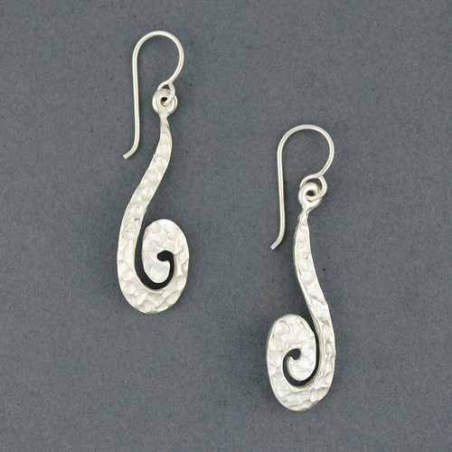 Sterling Silver Long Hammered Spiral Earrings