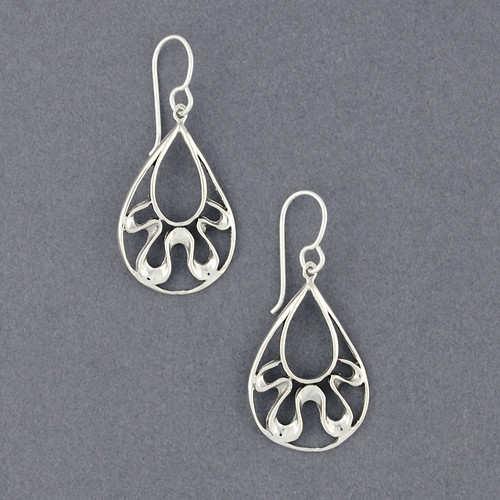 Sterling Silver Teardrop Squiggle Earrings