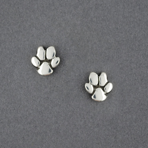 Sterling Silver Paw Print Stud Earrings