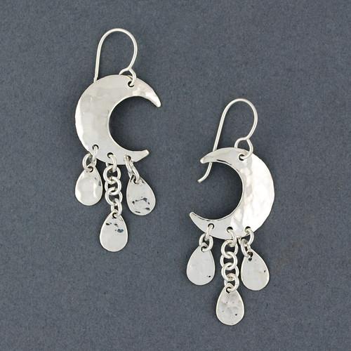 Sterling Silver Hammered Moon Earrings
