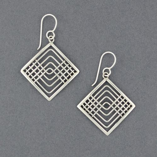 Sterling Silver Lines In Diamond Earrings
