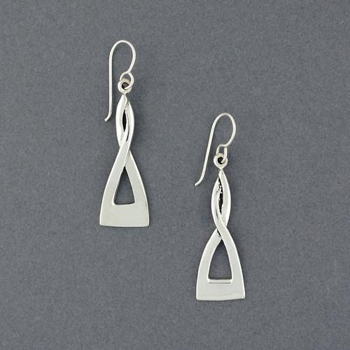 Sterling Silver Twisty Triangle Earrings