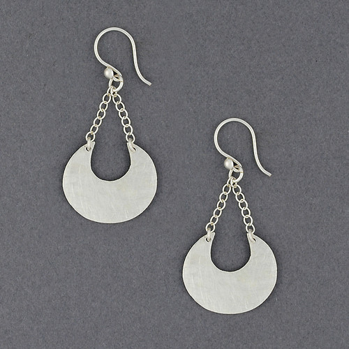 Sterling Silver Brushed Crecsent Dangle Earring
