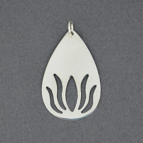 Sterling Silver Cutout Lotus Pendant
