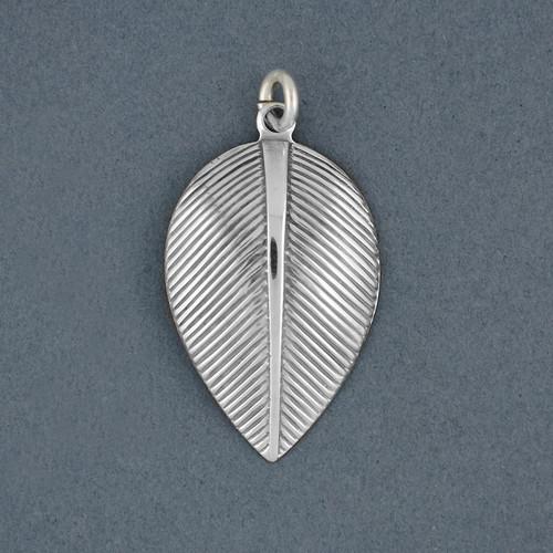 Sterling Silver Antiqued Curved Leaf Pendant