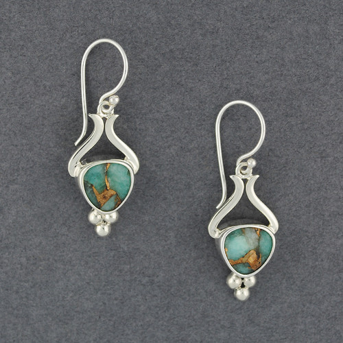 Granulated Amazonite and Bronze Earrings