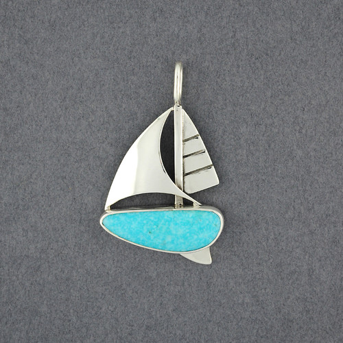Sailboat Pendant with Turquoise