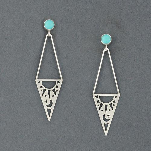 Triangle Sun & Moon Earrings with Stone