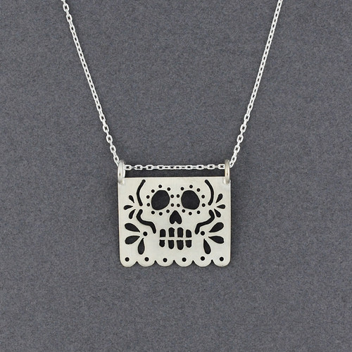 Large Papel Skull Necklace
