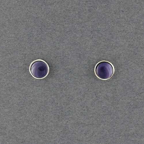 Wampum Round Bezel Post Earring