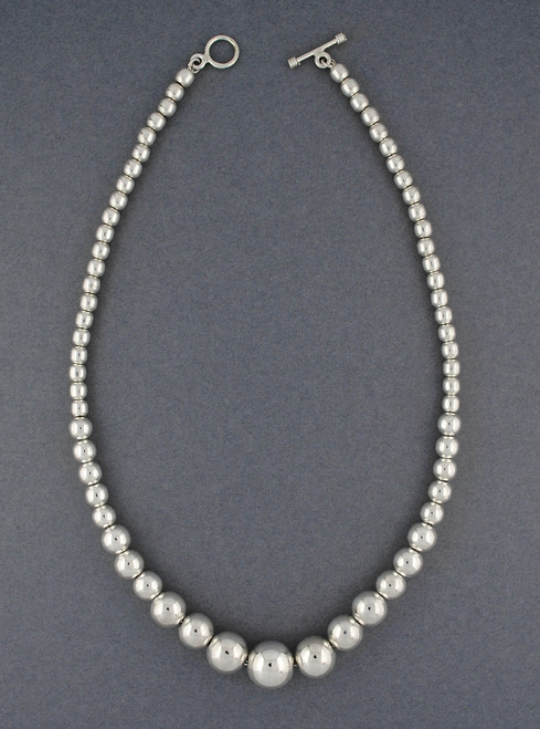 Sterling Silver Graduated Beaded Necklace