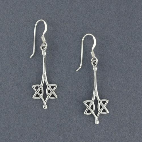 Sterling Silver Long Celtic Knot Earrings