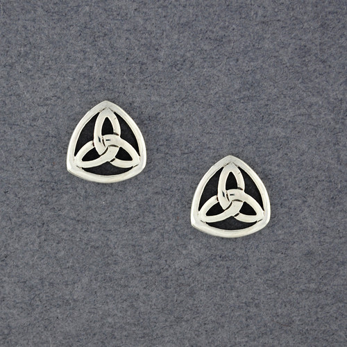 Sterling Silver Framed Trinity Knot Post Earrings