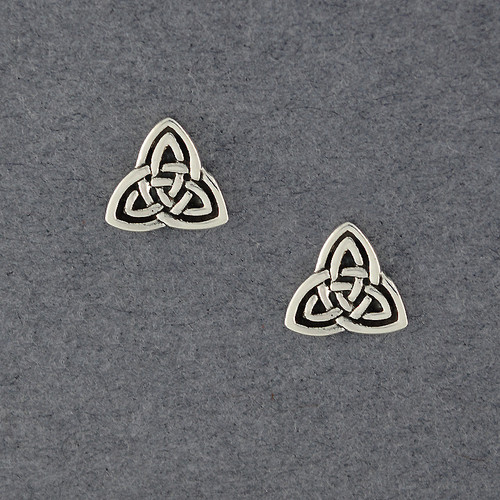 Sterling Silver Antiqued Trinity Knot Post Earrings