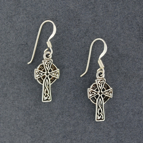 Sterling Silver Medium Celtic Cross Earrings
