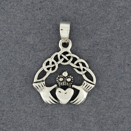 Sterling Silver Diamond Claddagh Knot Pendant